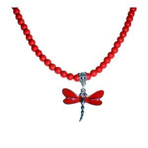 Red dragonfly and red howlite necklace 1639