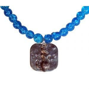 Dreaming of The Sea Mermaid and Aqua Blue Beaded Glass Necklace 1629
