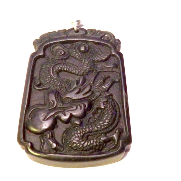 Carved jasper dragon and obsidian necklace 1312