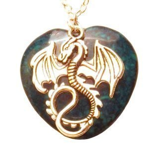 Dragon and green heart stone 453 Green