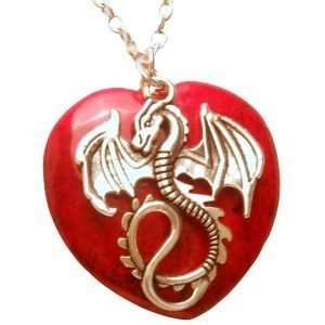 Dragon and lred heart stone necklaceE 453 Red