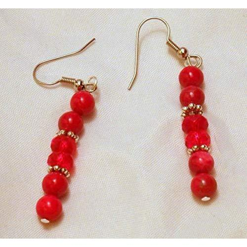 Beaded Red and Silvertone Beads on Steel French Wires 927