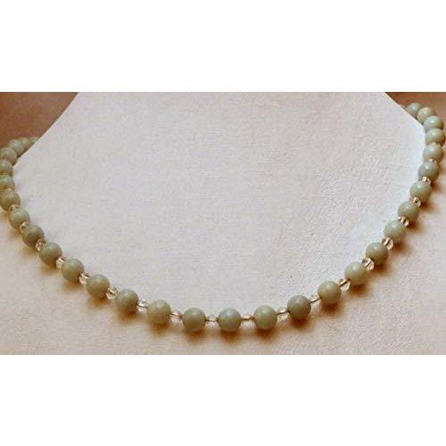 Amazonite and small clear crystal beaded necklace 825