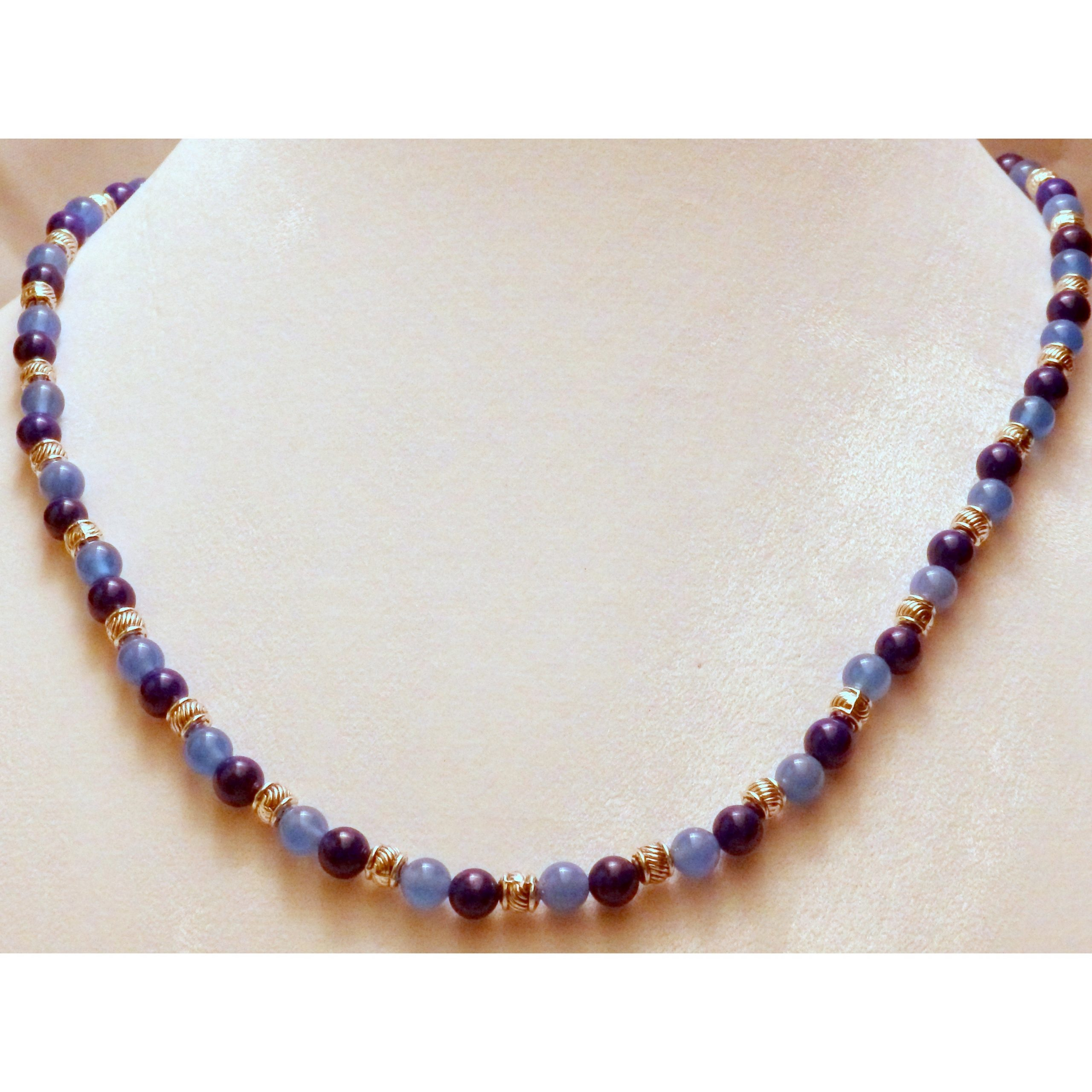 Blue Agate and Howlite Beaded Necklace 855