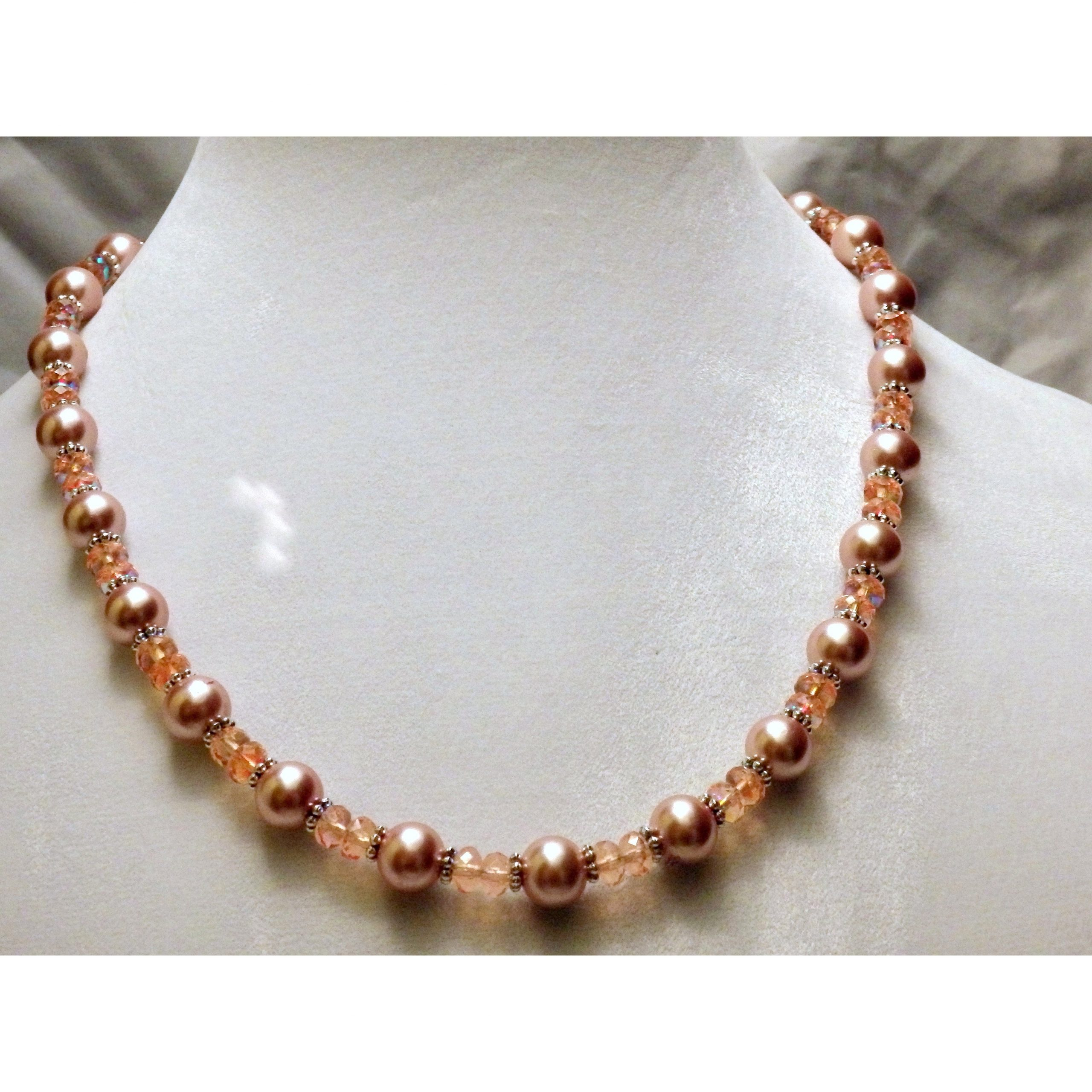 Pink Champaign Beaded Glass Necklace  897