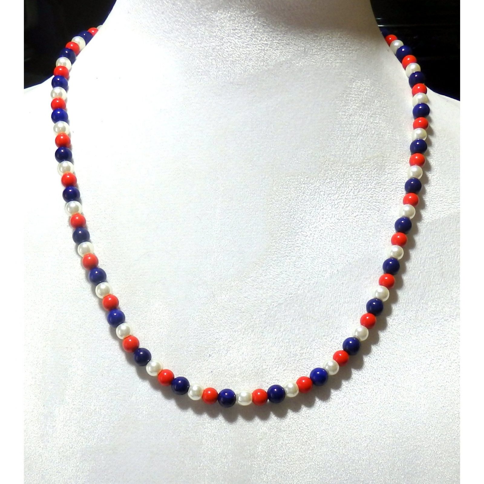 Red White and Blue Beaded Necklace  1588