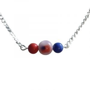 Red flag and blue bar necklace 1725-