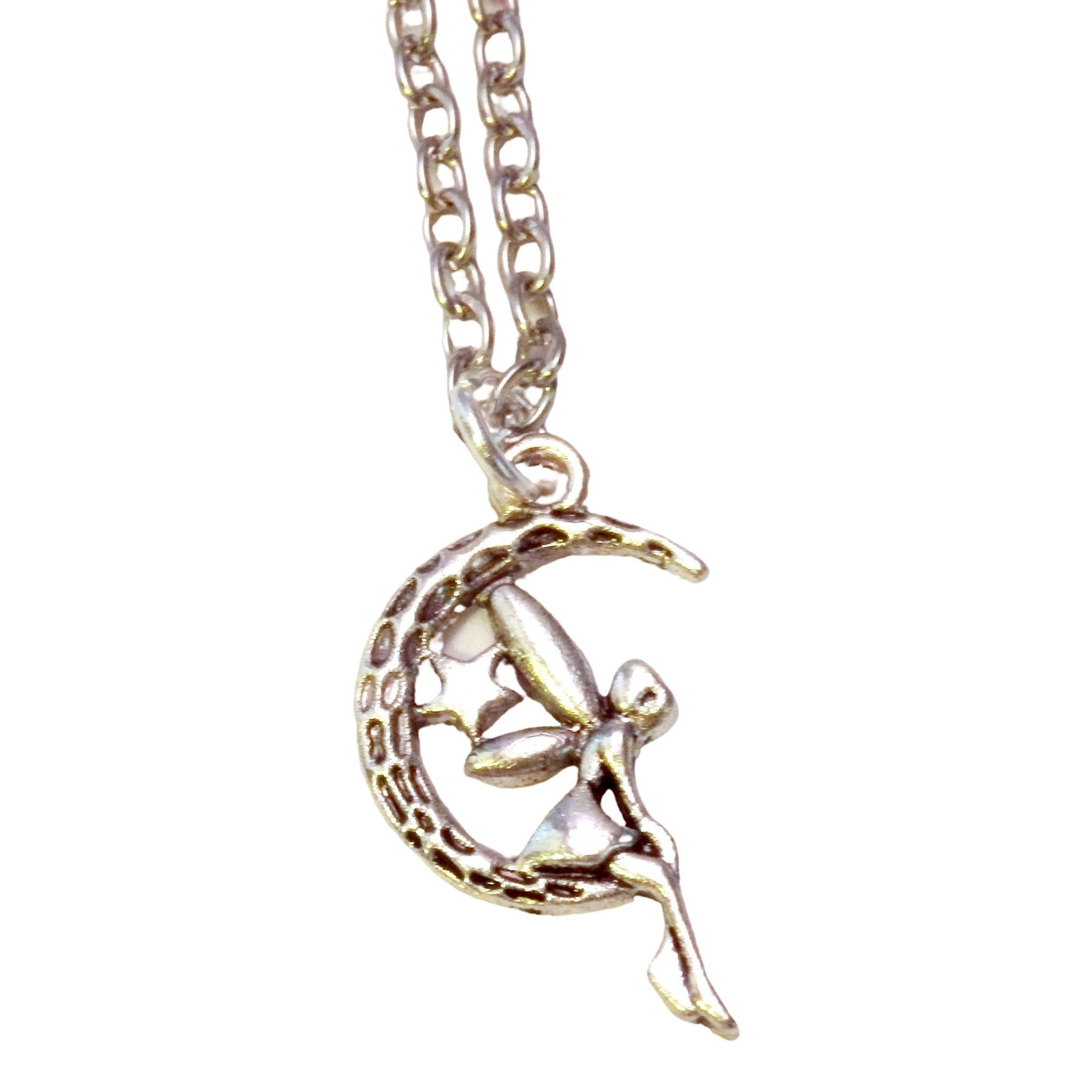 Fairy Girl Sitting on the Moon Necklace 683