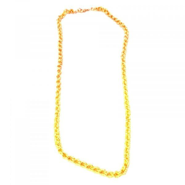 Goldtone Twisted Wire Chain Mail Necklace 1294