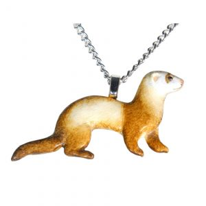 Chocolate sable ferret necklace 738