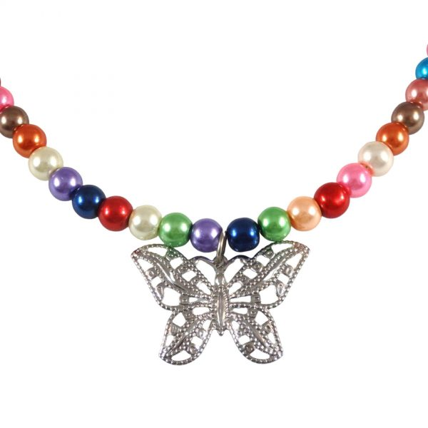 Rainbow glass and butterfly pendant 1817