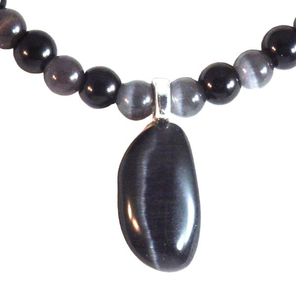 Black cataseye glass necklace and pendant 1963