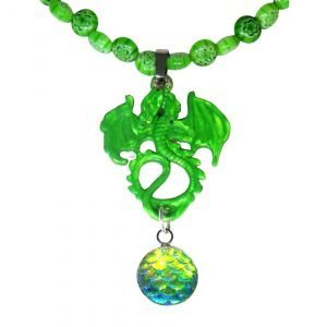 Mint green dragon and beads 1454
