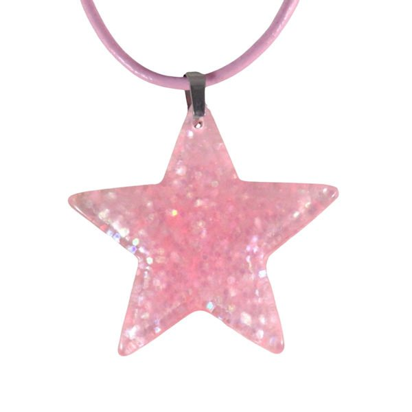 Pink acrylic star necklace 1655