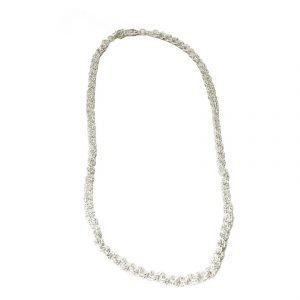 Silvertone twisted wire necklace 1055