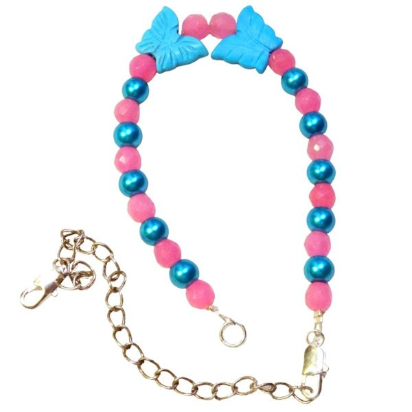 PINK AND BLUE BEADED BUTTERFLY CHARM BRACELET 1066